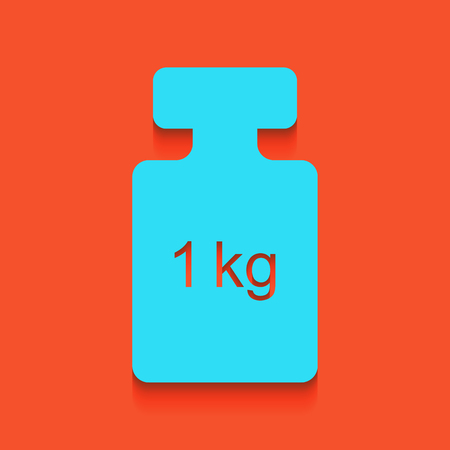 Weight simple sign. Vector. Whitish icon on brick wall as background. Illustration