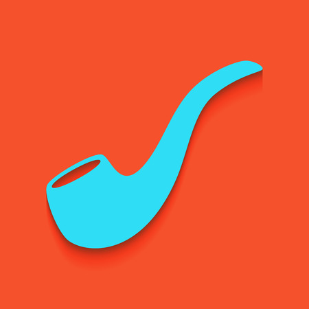 Smoke pipe sign. Vector. Whitish icon on brick wall as background.