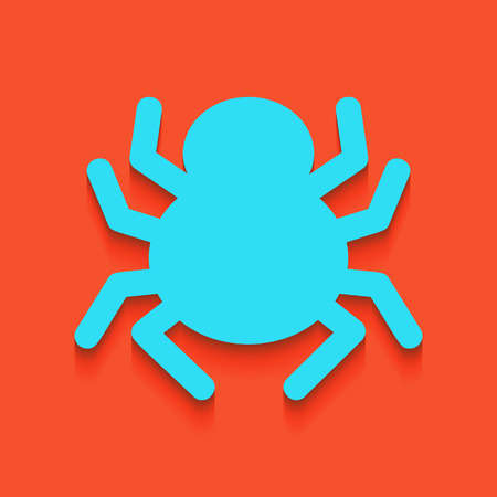 Spider sign illustration. Vector. Whitish icon on brick wall as background. Illustration