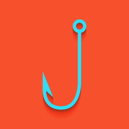 Ilustración de la señal del gancho de pesca. Vector. Icono blanquecino en la pared de ladrillo como fondo.