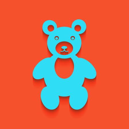 Teddy bear sign illustration. Vector. Whitish icon on brick wall as background.