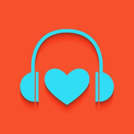 Headphones with heart. Vector. Whitish icon on brick wall as background. Illustration