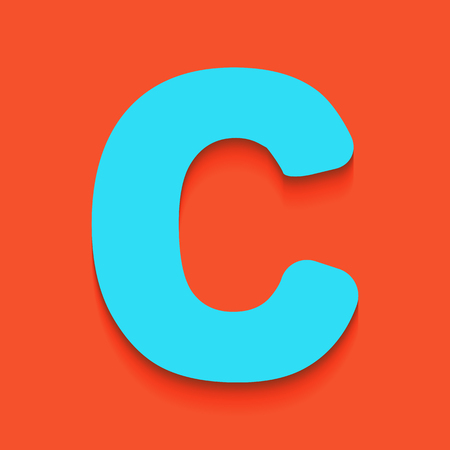 alphabetic character: Letter C sign design template element. Vector. Whitish icon on brick wall as background.