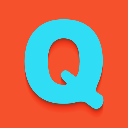alphabetic character: Letter Q sign design template element. Vector. Whitish icon on brick wall as background.