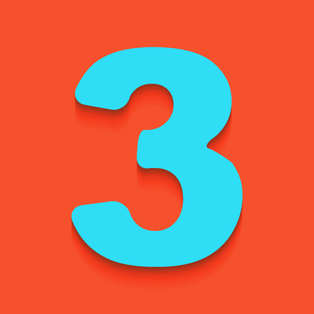 Number 3 sign design template element. Vector. Whitish icon on brick wall as background. Illustration