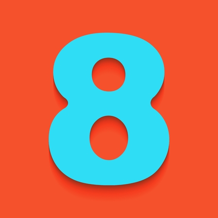 Number 8 sign design template element. Vector. Whitish icon on brick wall as background.