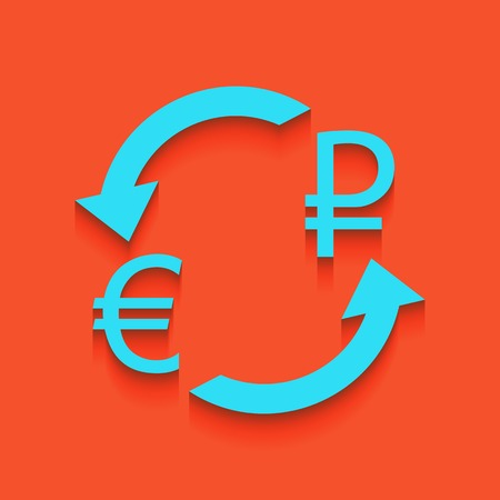 Currency exchange sign. Euro and Russia Ruble. Vector. Whitish icon on brick wall as background.