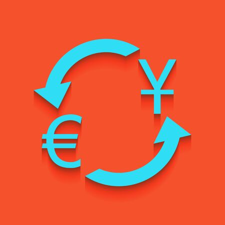 Currency exchange sign. Dollar and Euro. Vector. Whitish icon on brick wall as background. Illustration