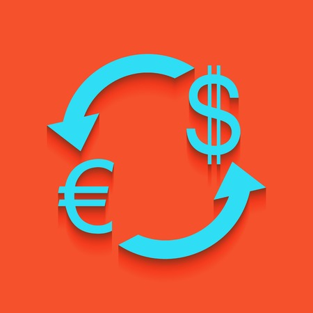 Currency exchange sign. Euro and US Dollar. Vector. Whitish icon on brick wall as background. Illustration