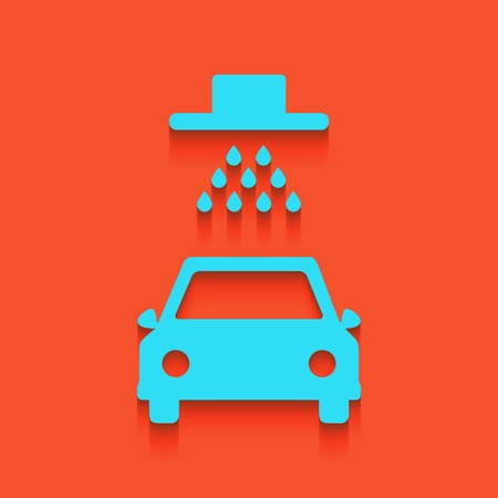 Car wash sign. Vector. Whitish icon on brick wall as background. Illustration