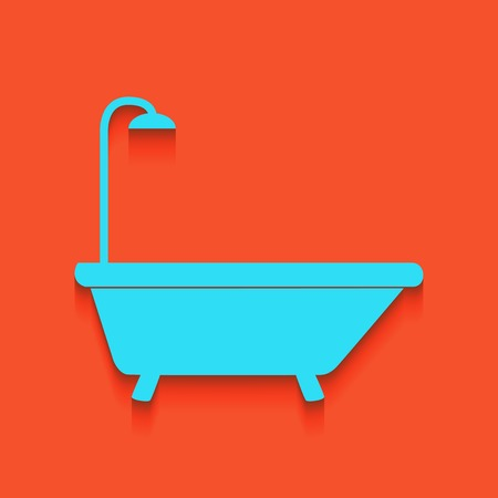 Bathtub sign. Vector. Whitish icon on brick wall as background.