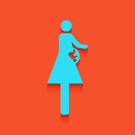 Women and baby sign. Vector. Whitish icon on brick wall as background. Illustration
