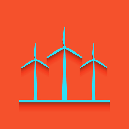 voltage sign: Wind turbines sign. Vector. Whitish icon on brick wall as background. Illustration