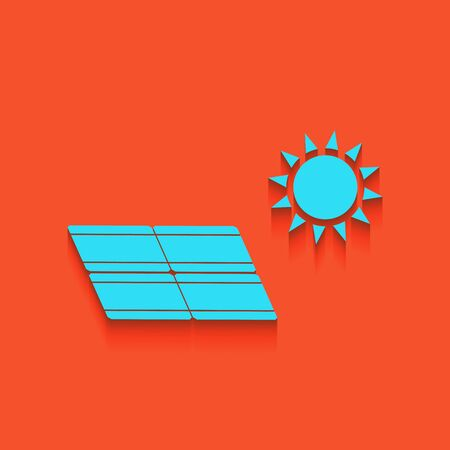 electricity meter: Solar energy panel. Eco trend concept sign. Vector. Whitish icon on brick wall as background. Illustration