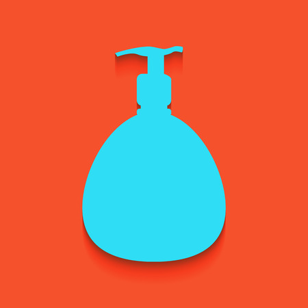 Gel, Foam Or Liquid Soap. Dispenser Pump Plastic Bottle silhouette. Vector. Whitish icon on brick wall as background.