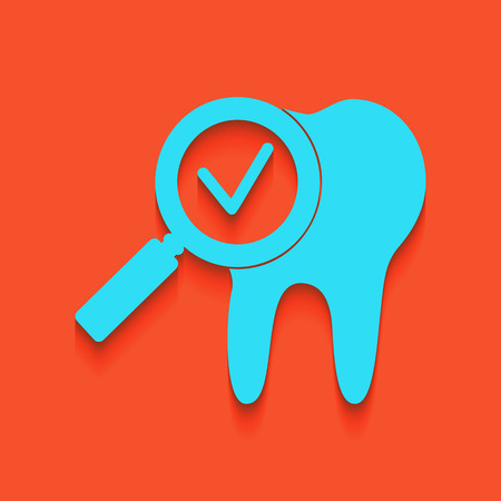 Tooth icon with arrow sign. Vector. Whitish icon on brick wall as background. Stock Illustratie