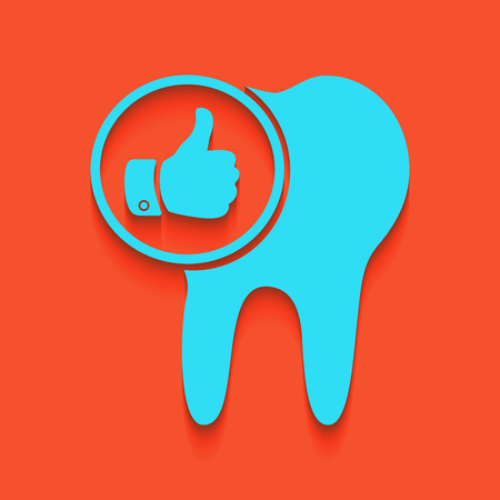 Tooth sign with thumbs up symbol. Vector. Whitish icon on brick wall as background.