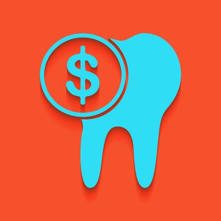 De kosten van tandbehandelingsteken. Vector. Whitish pictogram op bakstenen muur als achtergrond. Stock Illustratie