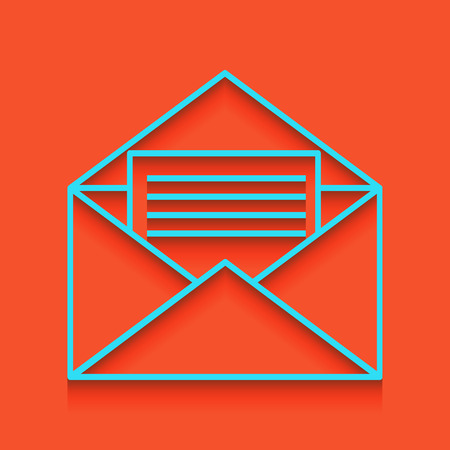 Letter in an envelope sign illustration. Vector. Whitish icon on brick wall as background.