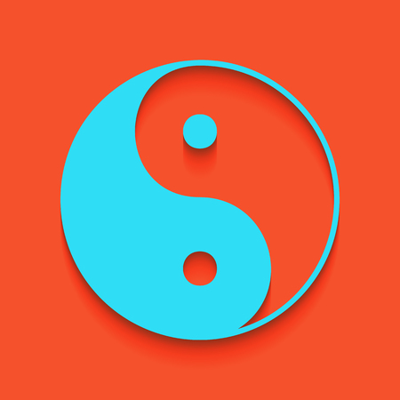 Ying yang symbol of harmony and balance. Vector. Whitish icon on brick wall as background. Illustration
