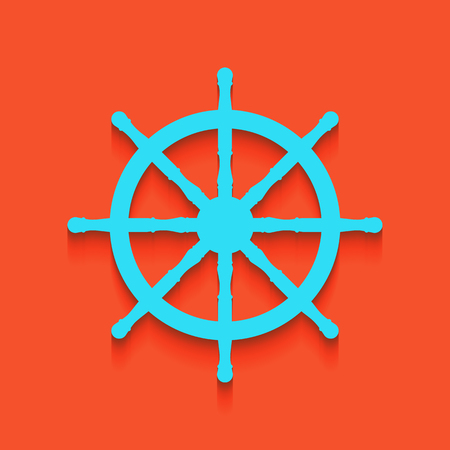 Ship wheel sign. Vector. Whitish icon on brick wall as background.