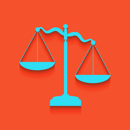 Scales of Justice sign. Vector. Whitish icon on brick wall as background.