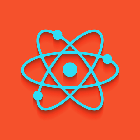 Atom sign illustration. Vector. Whitish icon on brick wall as background.