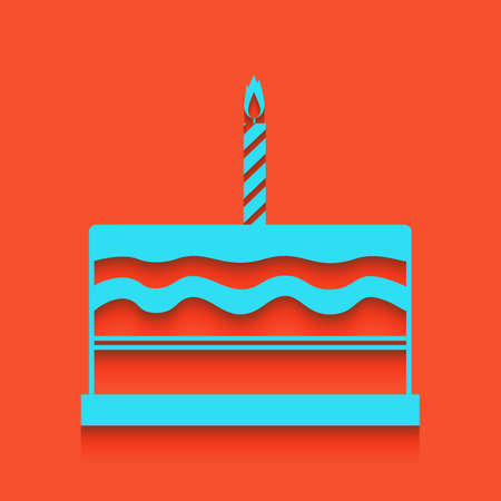 Birthday cake sign. Vector. Whitish icon on brick wall as background.