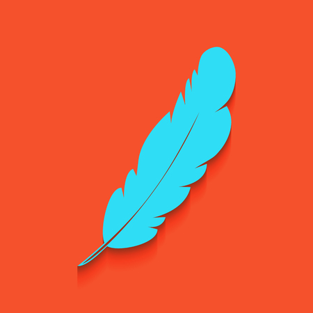 a creator: Feather sign illustration. Vector. Whitish icon on brick wall as background.