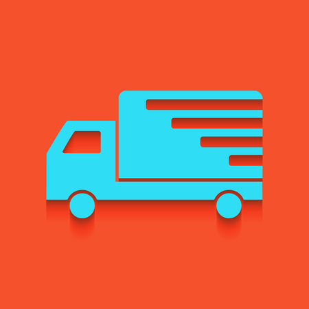 semitruck: Delivery sign illustration. Vector. Whitish icon on brick wall as background.