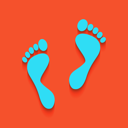 commit: Foot prints sign. Vector. Whitish icon on brick wall as background.