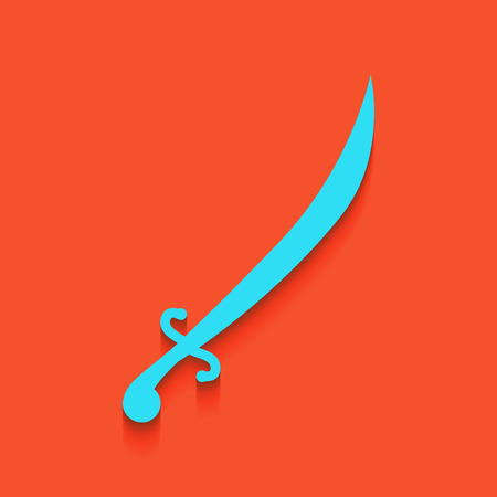 Sword sign illustration. Vector. Whitish icon on brick wall as background.
