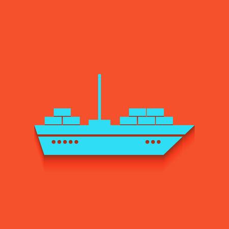 brigantine: Ship sign illustration. Vector. Whitish icon on brick wall as background.