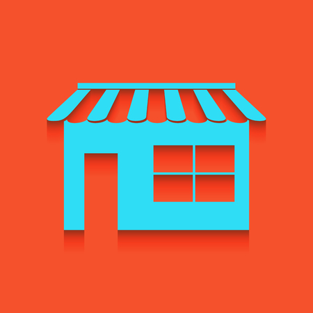 Store sign illustration. Vector. Whitish icon on brick wall as background.