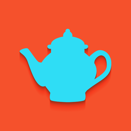 Tea maker sign. Vector. Whitish icon on brick wall as background.