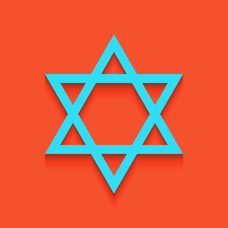 Shield Magen David Star. Symbol of Israel. Vector. Whitish icon on brick wall as background. Illustration