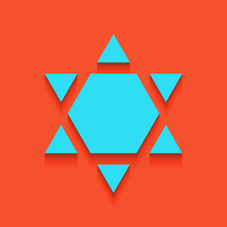 Shield Magen David Star Inverse. Symbol of Israel inverted. Vector. Whitish icon on brick wall as background.