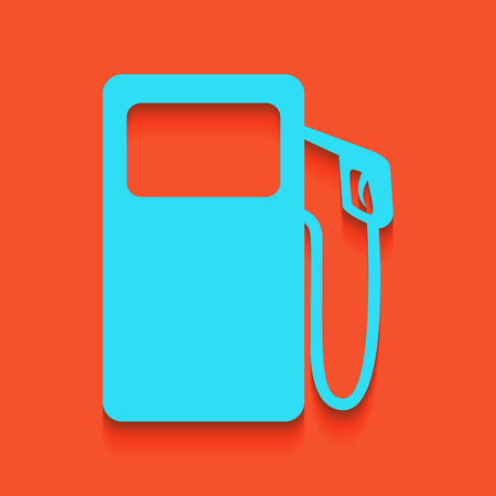 Gas pump sign. Vector. Whitish icon on brick wall as background.