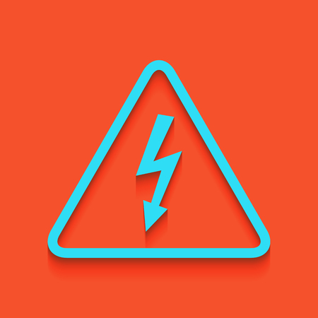 voltage sign: High voltage danger sign. Vector. Whitish icon on brick wall as background.