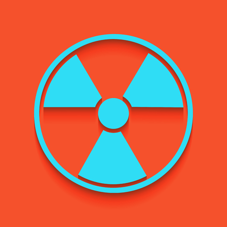 Radiation Round sign. Vector. Whitish icon on brick wall as background. Çizim