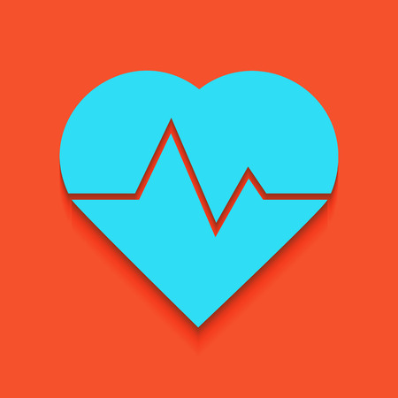 cor: Heartbeat sign illustration. Vector. Whitish icon on brick wall as background.