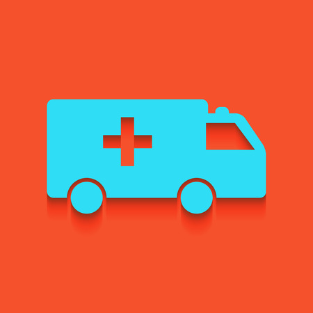 Ambulance sign illustration. Vector. Whitish icon on brick wall as background. Illustration