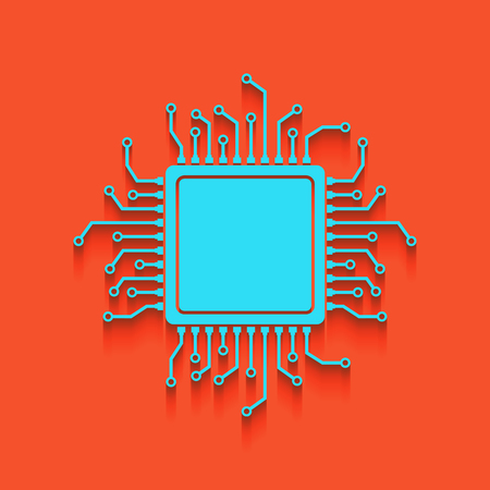 CPU Microprocessor illustration. Vector. Whitish icon on brick wall as background.