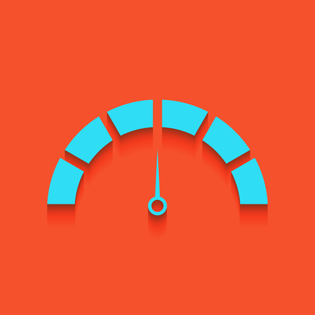 Speedometer sign illustration. Vector. Whitish icon on brick wall as background.