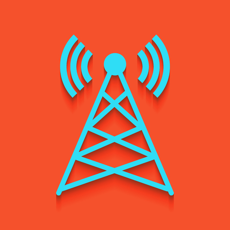 Antenna sign illustration. Vector. Whitish icon on brick wall as background.