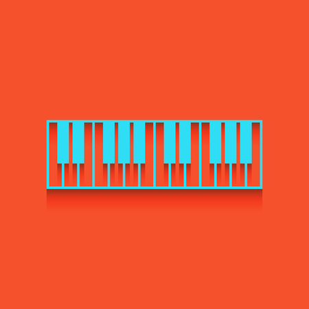 Piano Keyboard sign. Vector. Whitish icon on brick wall as background.