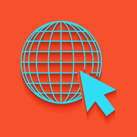 Earth Globe with cursor. Vector. Whitish icon on brick wall as background. Illustration
