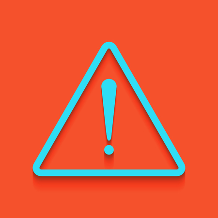 Exclamation danger sign. Flat style. Vector. Whitish icon on brick wall as background. Illustration