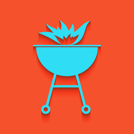 Barbecue with fire sign. Vector. Whitish icon on brick wall as background.