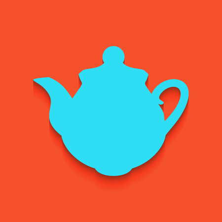Tea maker Kitchen sign. Vector. Whitish icon on brick wall as background.
